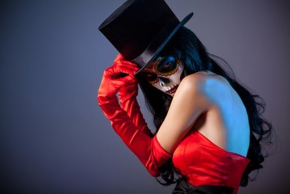Sugar skull girl in tophat