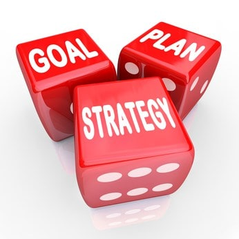 Plan Goal Strategy Words on Three Red Dice